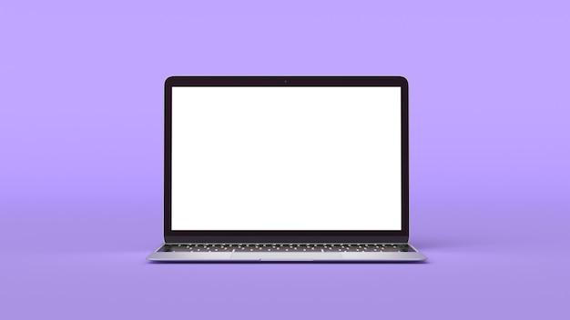 보라색 바탕에 빈 화면이 있는 현대 노트북의 모형. 귀하의 디자인에 대 한 3d 렌더링 그림입니다.