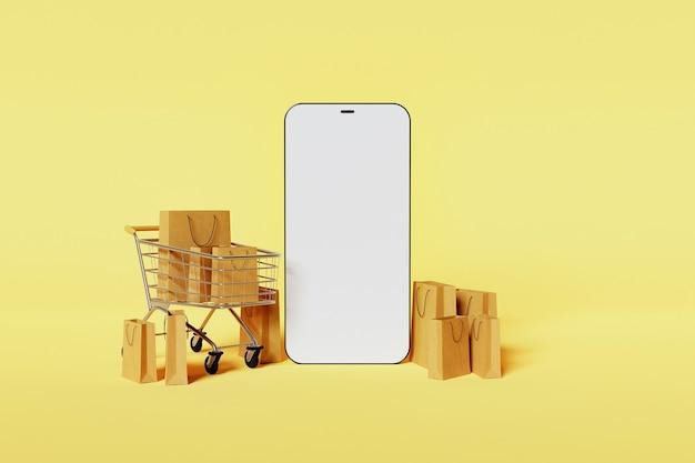 노란색 배경으로 주위에 쇼핑 카트 및 골판지 가방과 함께 현대 휴대 전화의 모형