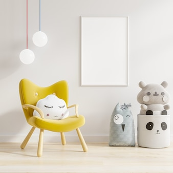 Макет плаката на стене в детской комнате с желтым креслом. 3d визуализация Premium Фотографии