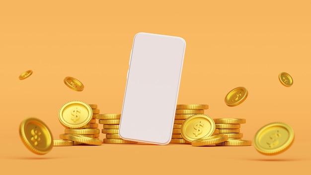黄金のコイン、3 dレンダリングに囲まれたスマートフォンのモックアップ