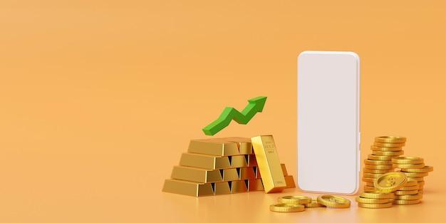 金と金のコイン3dレンダリングでスマートフォンのモックアップ