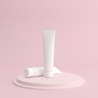 Макет белого косметического крема контейнер