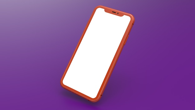 Mockup of a orange cell phone with a purple gradient background. perfect for putting images of websites or applications.