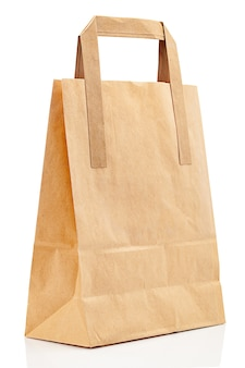 Mockup of paper bag with place for logo isolated on white background