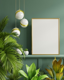 Mockup photo frame on the green shelf with beautiful plants. 3d rendering