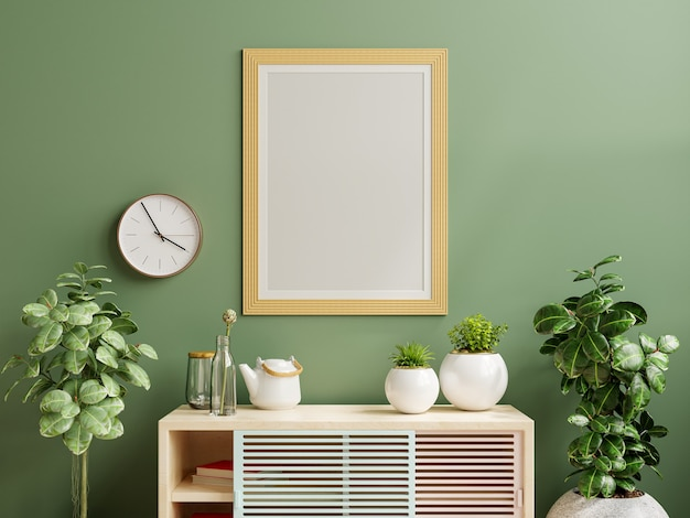 Mockup photo frame green wall mounted on the wooden cabinet with beautiful plants.3d rendering