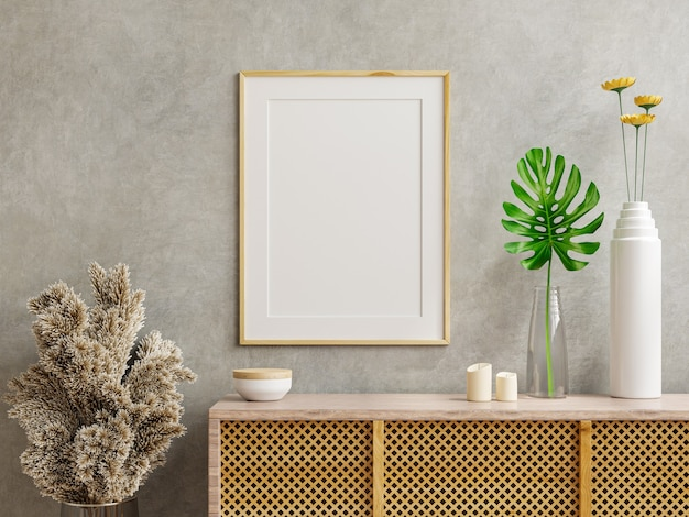 Mockup photo frame on the wooden cabinet with concrete wall,3d rendering