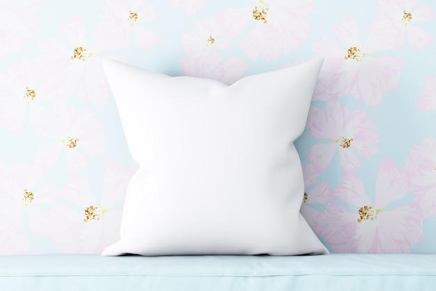 Подушка-макет белая в цветах синяя