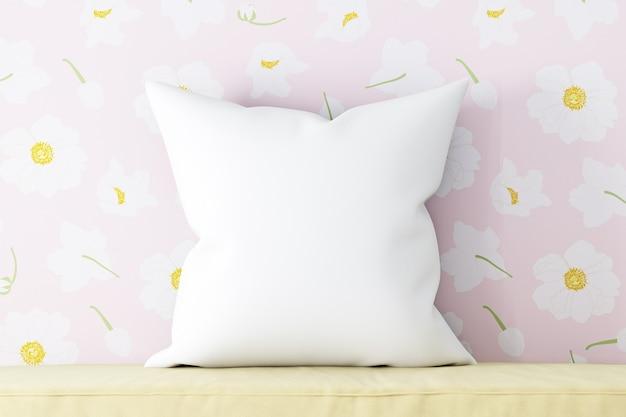 Подушка-макет белая в цветах розовая
