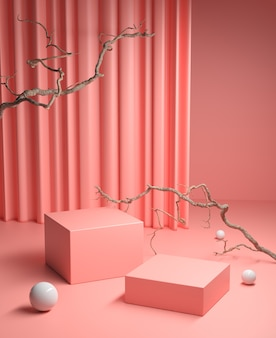 Mockup pink podium with dry twigs and clean curtain background 3d render