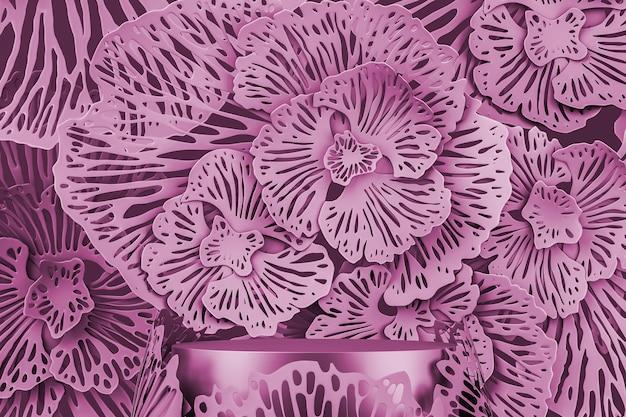 제품 또는 광고 프레젠테이션을 위한 모형 분홍색 장면. 핑크 플랫폼 및 추상 꽃 배경입니다. 3d 렌더링