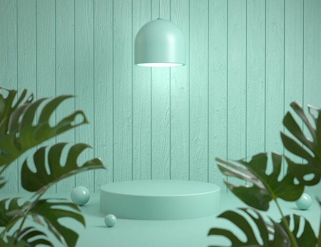 Mockup platform natural wooden wall background and monstera plants foreground 3d render