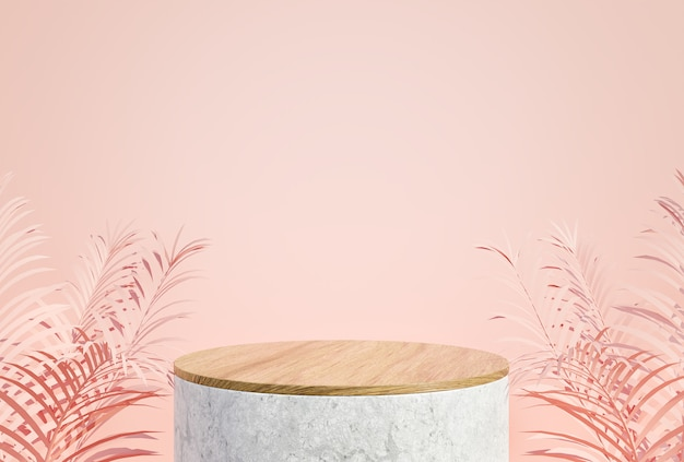 Mockup podium display for cosmetic product presentation minimal pink pastel color background