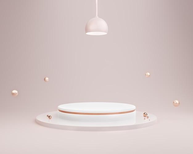 화장품 제품 프리젠 테이션을위한 모형 연단 디스플레이 최소 밝은 자주색 파스텔 색상 배경