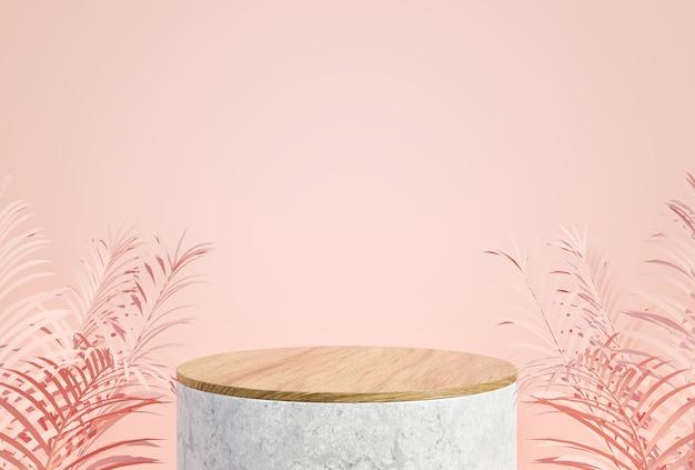 화장품 제품 프리젠 테이션을위한 모형 연단 디스플레이 최소 핑크 파스텔 색상 배경