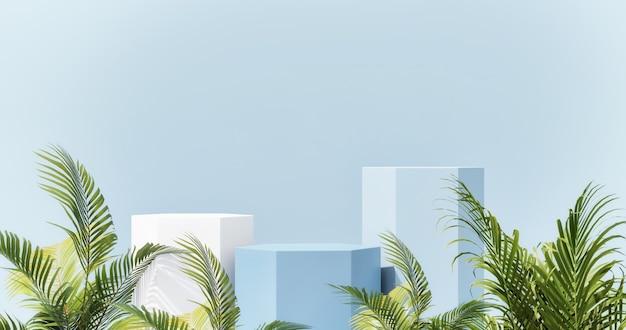 Макет подиума для креативной презентации продукта абстрактный геометрический синий фон