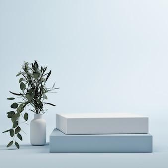 창조적 인 제품 프리젠 테이션을위한 모형 연단 추상적 인 기하학적 파란색 배경