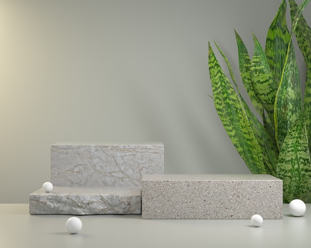 Mockup podium stone for show products with snake plant background 3d render