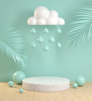Mockup podium with cloud rain drop palm leaf and wood floor on mint pastel