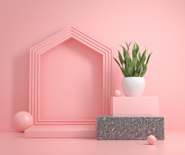 집 기호 모양과 뱀 식물 3d 렌더링 모형 연단