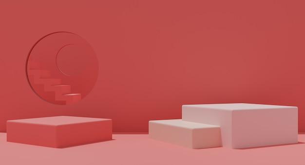 Макет подиума с лестницей на розовом