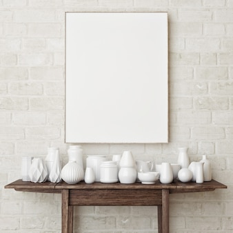 Mockup poster on a brick wall the simple scene with white pottery