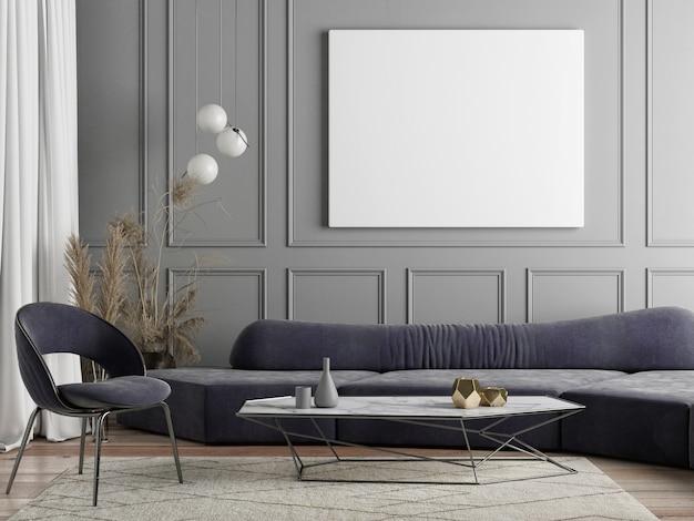Макет плаката для презентации, скандинавский дизайн гостиной с домашним декором, серый фон, 3d визуализация, 3d иллюстрация