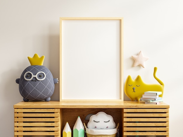 Mockup poster frame in the children's room with cabinet in white color wall background.3d rendering