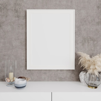 Mockup poster frame close up on gray wall with decor, 3d render