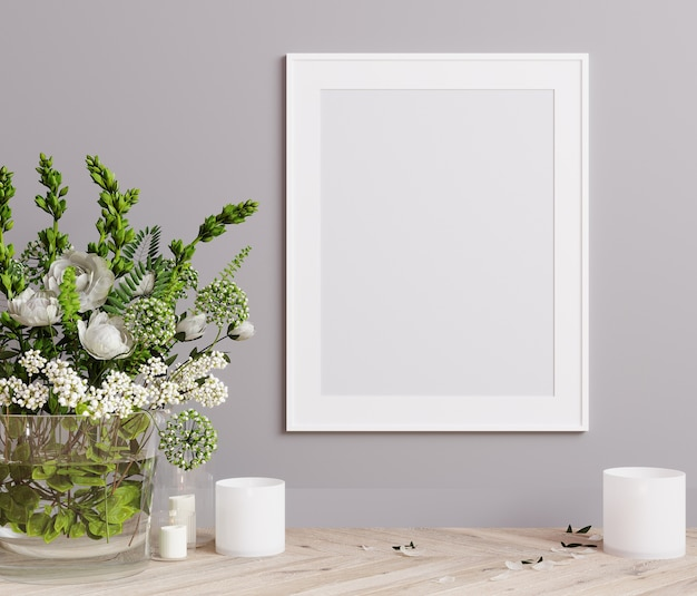 Mockup poster frame close up on light gray wall with white flowers and candles 3d render