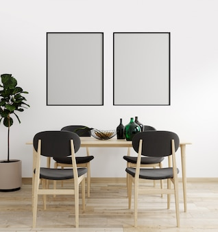 Макет постер кадр в современном интерьере фон, гостиная, скандинавский стиль, 3d визуализации, 3d иллюстрации