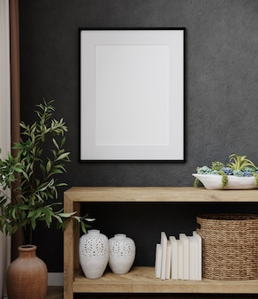 Mockup poster frame in modern black interior background with decoration and plant