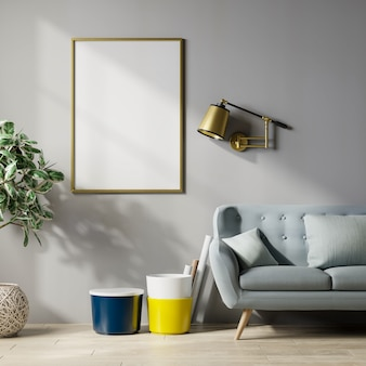 Mockup poster frame in modern interior background,gray wall,3d rendering