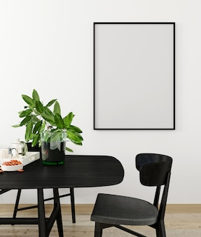 Mockup poster frame in modern interior background, living room, scandinavian style, 3d render, 3d illustration