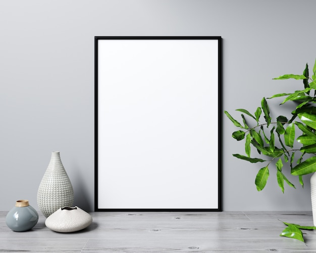 Mockup poster frame in modern interior background, scandinavian style, 3d rendering