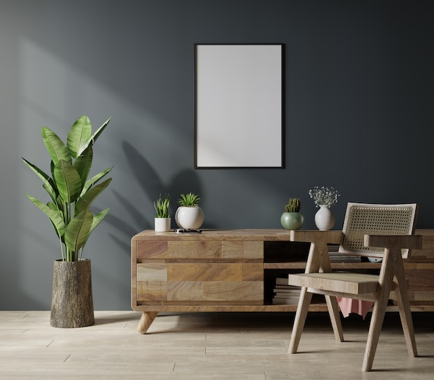 Mockup poster frame in modern living room interior design with dark empty wall.3d rendering