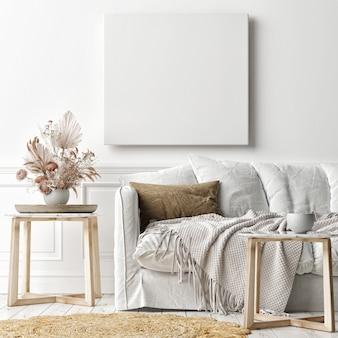 벽에 모형 포스터 프레임, 스칸디나비아 거실의 흰색 소파, 3d 렌더링, 3d 일러스트