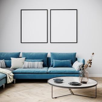 Макет плаката в интерьере современной гостиной в светлых тонах, синий диван с журнальным столиком