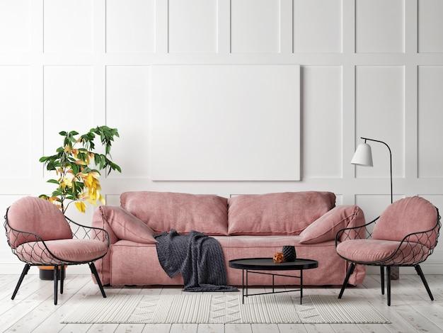 스칸디나비아 스타일 거실 디자인의 모형 포스터, 3d 일러스트