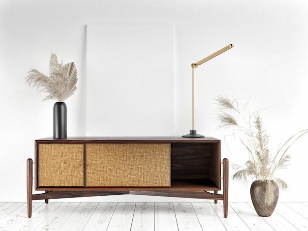 Макет плаката в интерьере с деревянной мебелью, 3d визуализация в стиле scandi-boho, 3d иллюстрация