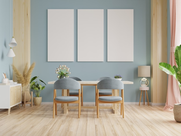 Mockup poster in modern dining room interior design with blue walls