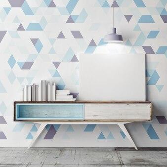 여러 가지 빛깔의 삼각형 배경으로 구식 테이블에 모형 포스터