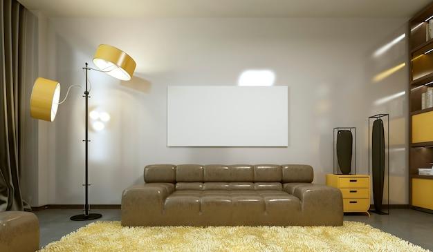 Макет плаката на стене в современной гостиной. 3d визуализация.
