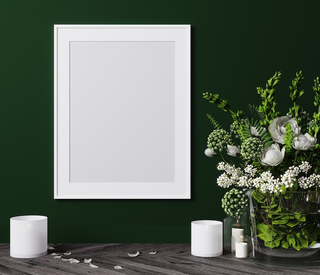 Mockup poster vertical frame close up with white flowers and candles 3d render