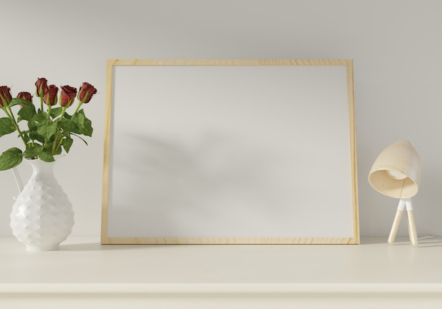 Mockup poster on white wall background. 3d rendering.