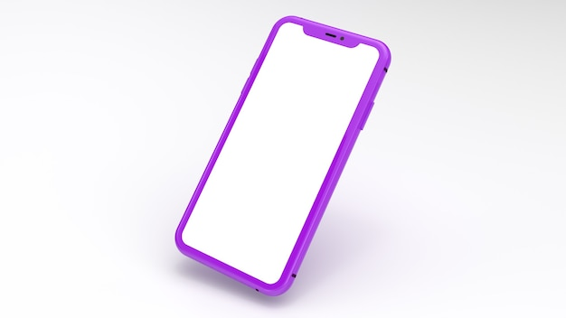 Mockup of a purple cell phone with a white background. perfect for putting images of websites or applications.
