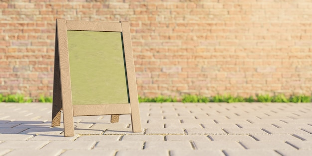 Mockup of restaurant menu board in the street with brick wall and blurred background. 3d rendering