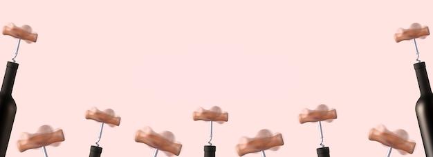 Mockup of rotating corkscrews opening bottles of wine, blank for wine advertising, panoramic image.