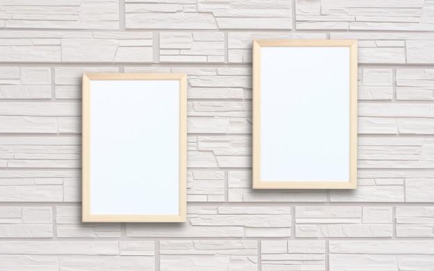 목업, 장면 제작자. 밝은 회색 벽돌 벽에 두 개의 빈 사각형 프레임. 개체 또는 텍스트를위한 공간. 중립 배경.