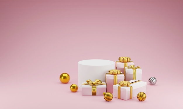 Mockup scene geometry shape podium and gift for product display or celebrate on pink
